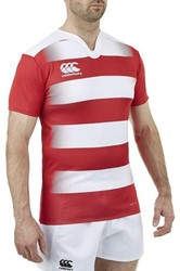 CANTERBURY HOOPED CHALLENGE JERSEY - S - SCARLET/WHITE