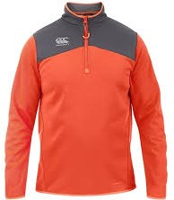CANTERBURY THERMOREG  QTR ZIP RUN TOP - S - RED SPARK