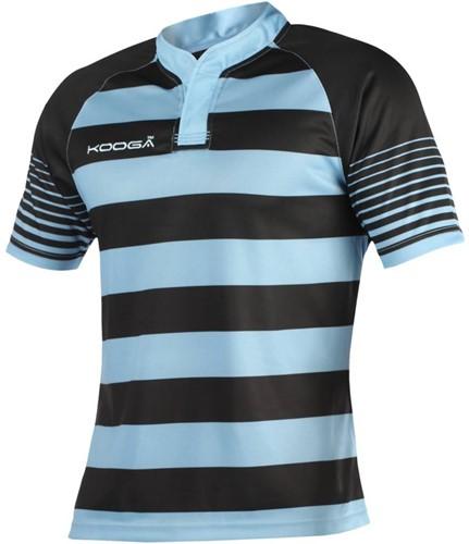 Kooga Touchline hooped shirt, bestel 1 maat kleiner  Zwart/Sky - L