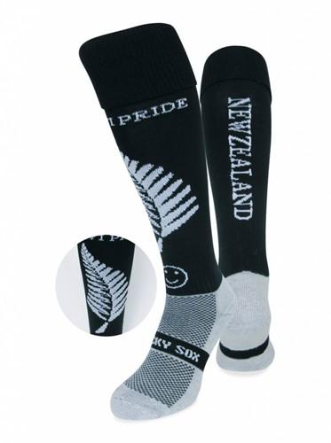 WackySox Nieuw Zeeland sokken  Zwart / Wit - 35-40