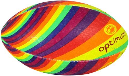Regenboog rugbybal maat 4