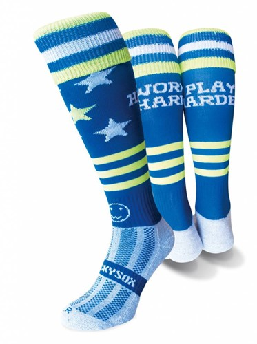 WackySox Work Hard Play Harder  Blauw - 46-49